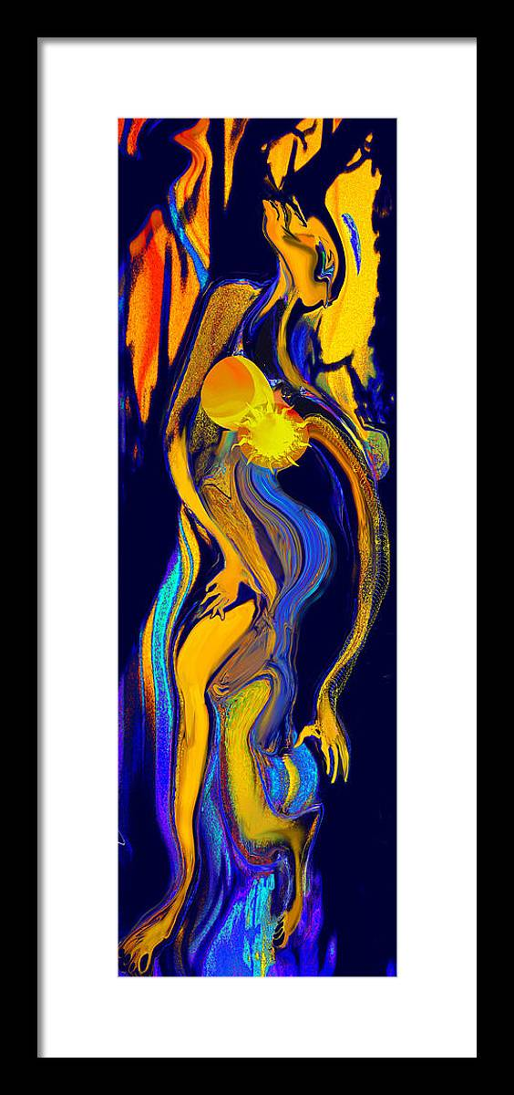 Women Framed Print featuring the painting The Dance With The Wolf by Anne Weirich