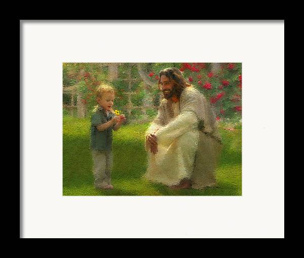 Jesus Framed Print featuring the painting The Dandelion by Greg Olsen