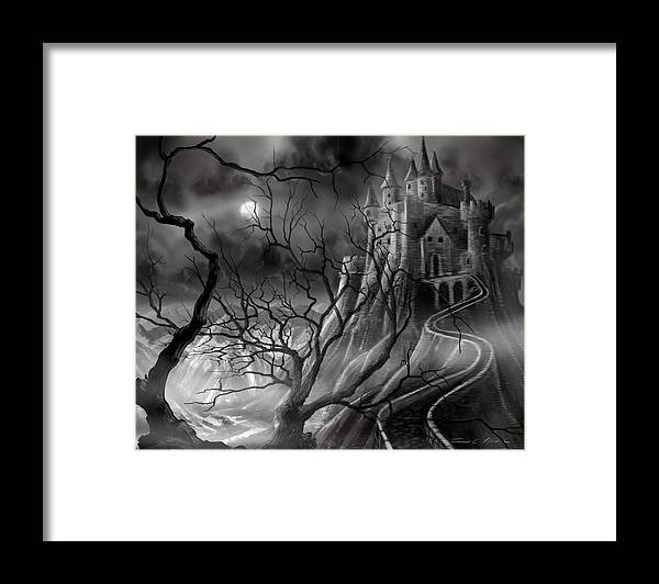 Castle Framed Print featuring the painting The Dark Castle by James Christopher Hill