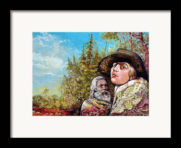 Surrealism Framed Print featuring the painting The Dauphin And Captain Nemo Discovering Bogomils Island by Otto Rapp