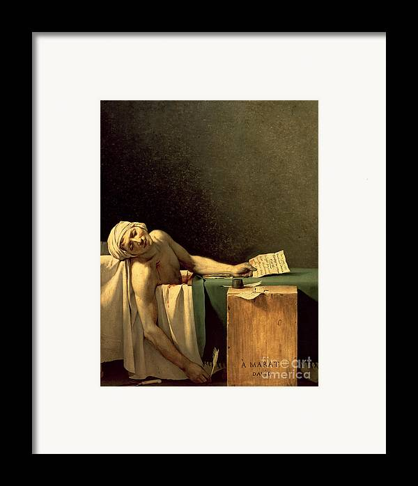 The Framed Print featuring the painting The Death Of Marat by Jacques Louis David
