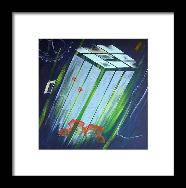 Delevator Framed Print featuring the painting The Death Song Of The Elevator by Poul Costinsky