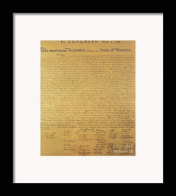 Declaration Of Independence Of The 13 United States Of America Of 1776 Framed Print featuring the painting The Declaration Of Independence by Founding Fathers