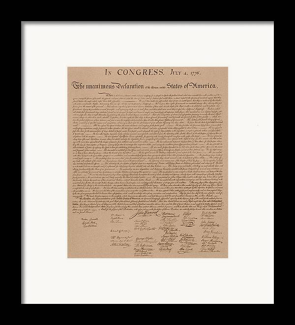 Declaration Of Independence Framed Print featuring the mixed media The Declaration Of Independence by War Is Hell Store