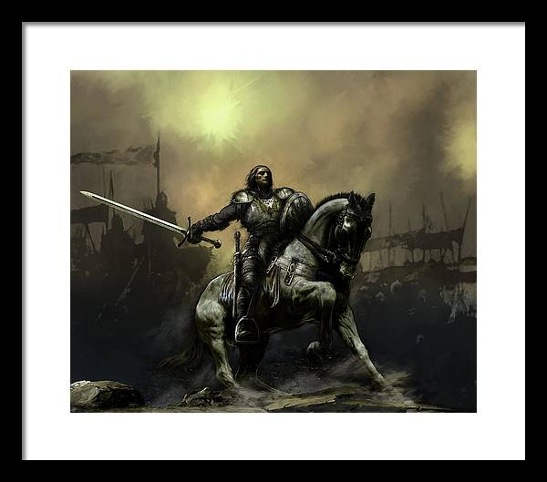 Fantasy Framed Print featuring the painting The Defiant by David Willicome