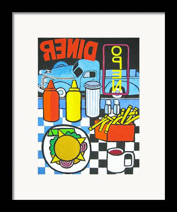 Diner Framed Print featuring the painting The Diner by Nicholas Martori
