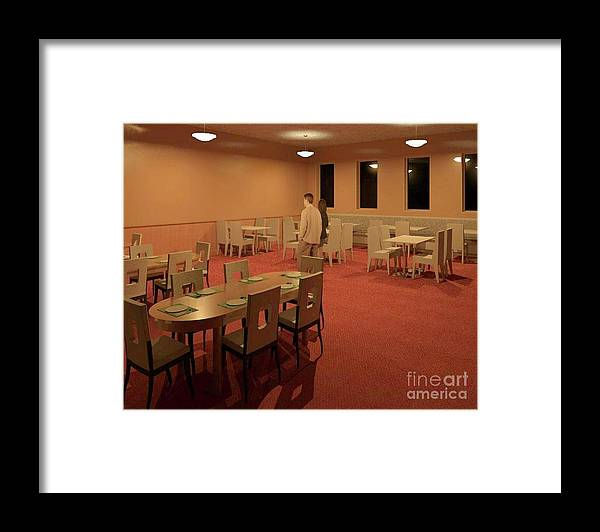 Rendering Framed Print featuring the digital art The Dining Room by Ron Bissett