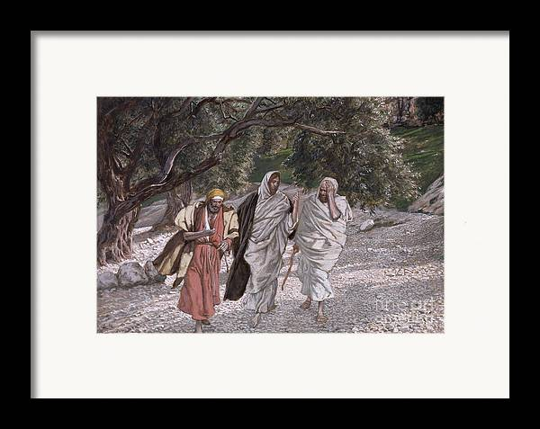 The Framed Print featuring the painting The Disciples On The Road To Emmaus by Tissot