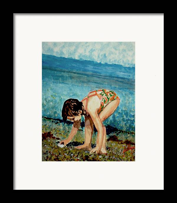 Girl Framed Print featuring the painting The Discovery by Jim Phillips