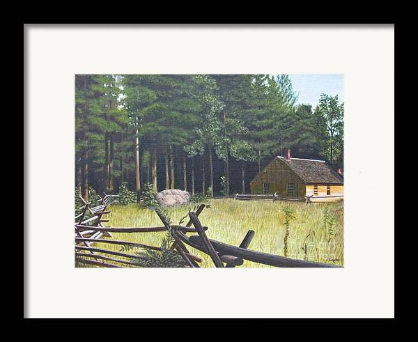 Landscape Framed Print featuring the painting The District School House by Donald Hofer