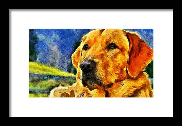 Academic Framed Print featuring the painting The Dog by Leonardo Digenio