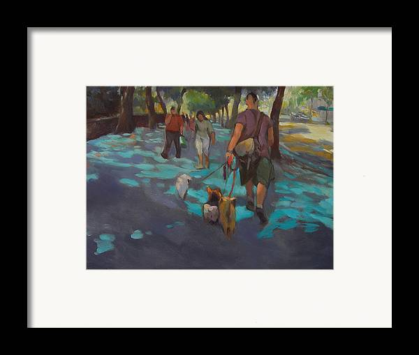 Dogs Framed Print featuring the painting The Dog Walker by Merle Keller