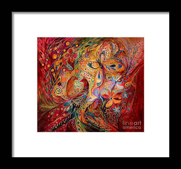 Original Framed Print featuring the painting The Domination Of Red by Elena Kotliarker