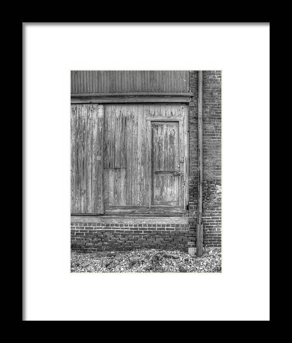 Building Framed Print featuring the photograph The Door Bw by Douglas Settle