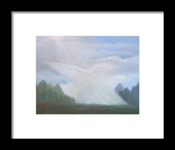 Doves Framed Print featuring the painting The Dove Cloud by Rana Adamchick