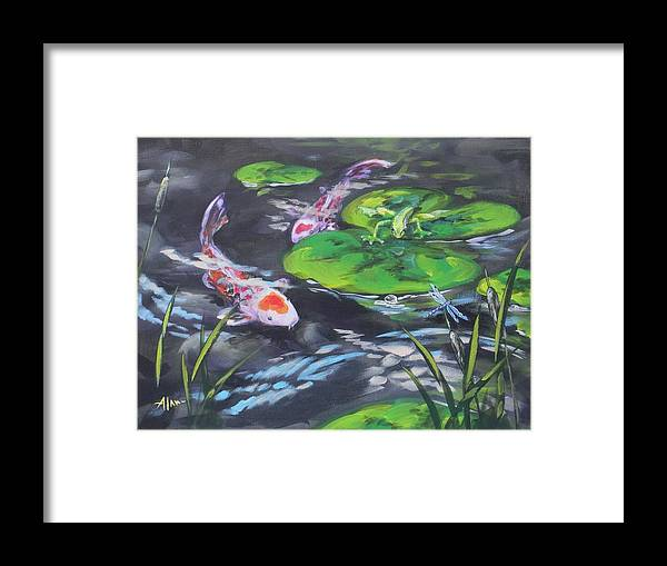 Koi Fish Frog Dragonfly Water Waterscape Lily Pad Pond Cattails Green Blue Red White Nature Framed Print featuring the painting The Drag Race by Alan Scott Craig