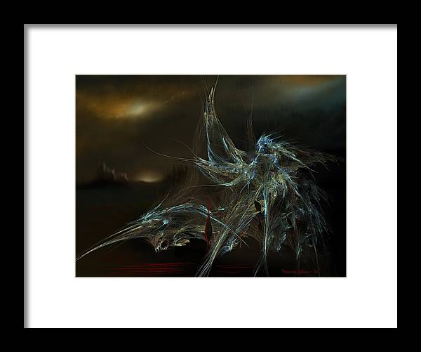 Dragon Warrior Medieval Fantasy Darkness Framed Print featuring the digital art The Dragon Warrior by Veronica Jackson