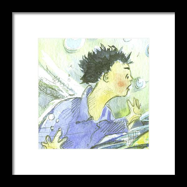 Ilustration Framed Print featuring the painting The Dragon's Gift by Sarah Madsen