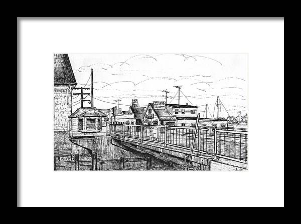 Bridge Framed Print featuring the drawing The Drawbridge As Seen From Pjs by Vic Delnore