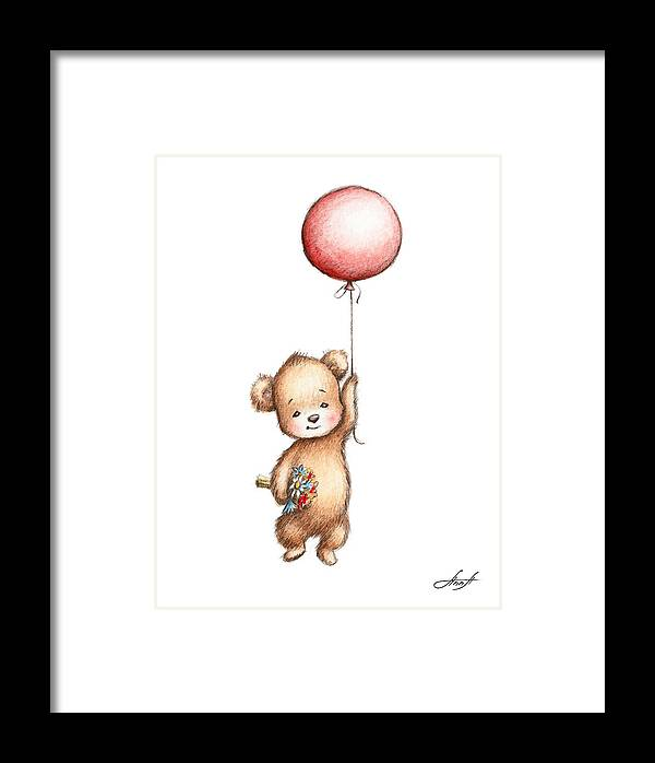 The Drawing Of Teddy Bear With Red Balloon And Flowers Framed Print