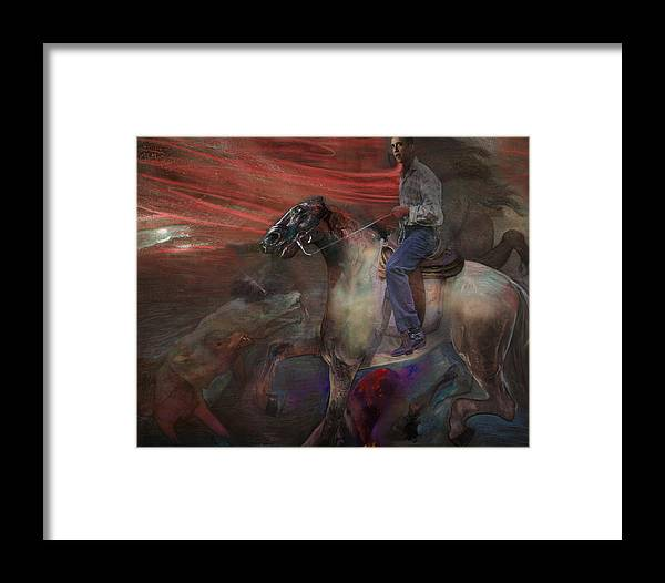 Horse Framed Print featuring the digital art The Dream 2 by Henriette Tuer lund