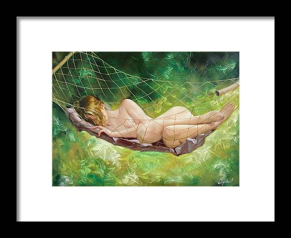 Oil Framed Print featuring the painting The Dream In Summer Garden by Sergey Ignatenko