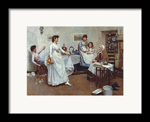 The Dress Rehearsal Framed Print featuring the painting The Dress Rehearsal by Albert Chevallier Tayler