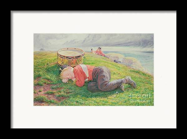 The Framed Print featuring the painting The Drummer Boy's Dream by Frederic James Shields