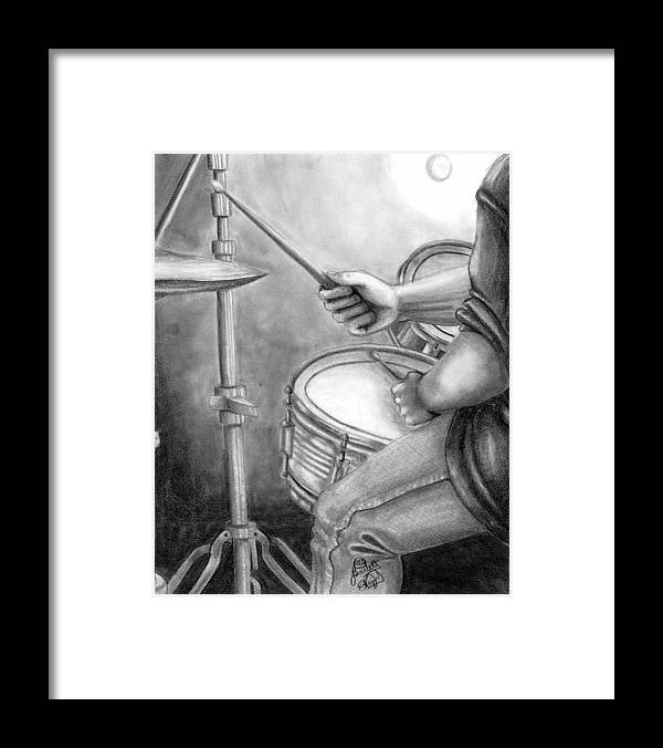Drummer Framed Print featuring the drawing The Drummer by Scarlett Royal