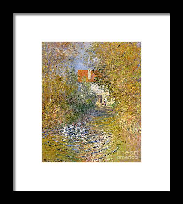 French Framed Print featuring the painting The Duck Pond by Claude Monet