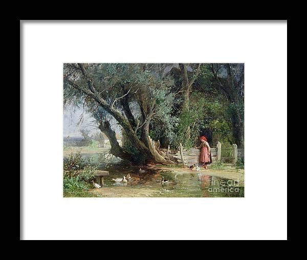 The Duck Pond By Eduard Heinel (1835-95) Framed Print featuring the painting The Duck Pond by Eduard Heinel