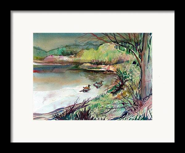 Ducks Framed Print featuring the painting The Duck Pond by Mindy Newman