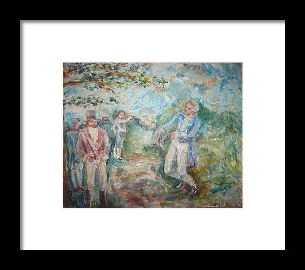 People Landscape Historical Duel Framed Print featuring the painting The Duel by Joseph Sandora Jr