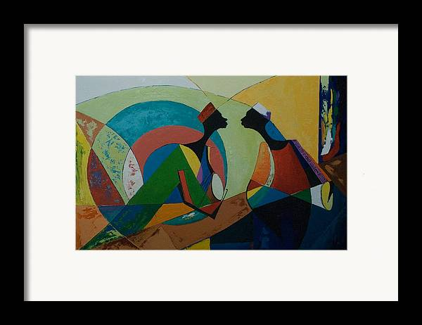 Framed Print featuring the painting The Duet by Alfred Awonuga