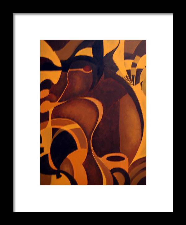 Abstract Framed Print featuring the painting The Earth Rises Up by DeLa Hayes Coward