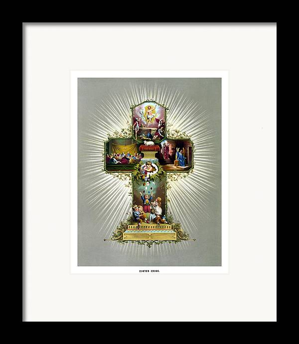 Jesus Framed Print featuring the painting The Easter Cross by War Is Hell Store