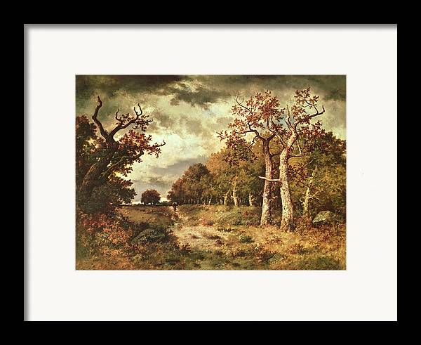 The Framed Print featuring the painting The Edge Of The Forest by Narcisse Virgile Diaz de la Pena
