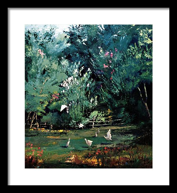 Landscape Framed Print featuring the painting The Egrets Have Landed by Jimmie Trotter