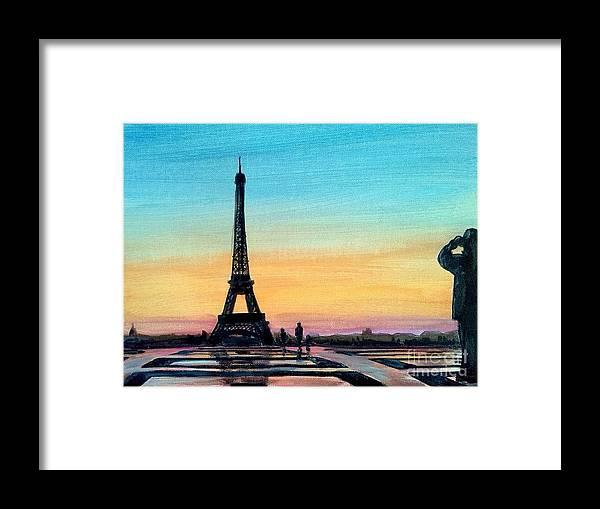 Richard John Holden_paris_eiffel Tower_tour De Eiffel Framed Print featuring the painting The Eiffel Tower At Sunset by Richard John Holden RA