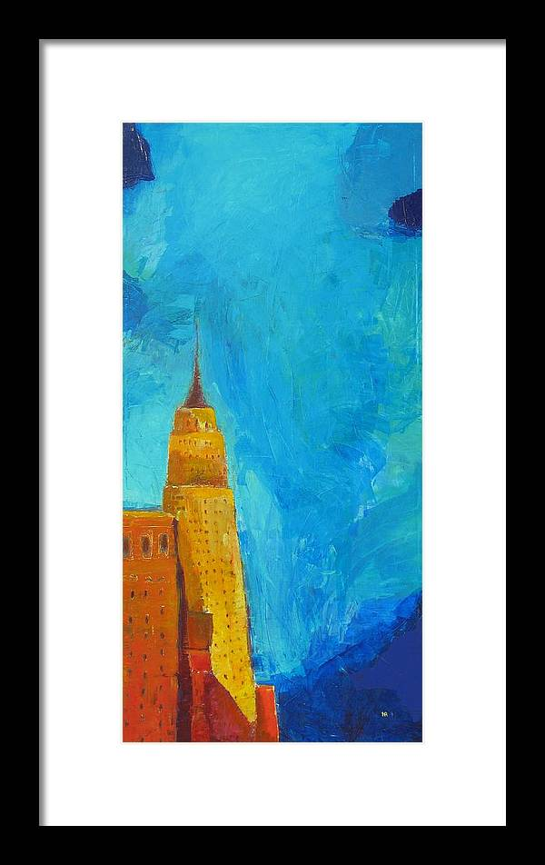 Abstract Cityscape Framed Print featuring the painting The Empire State by Habib Ayat