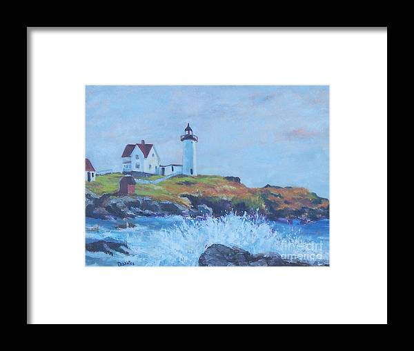 Coastal Framed Print featuring the painting The End Of Summer- Cape Neddick Maine by Alicia Drakiotes