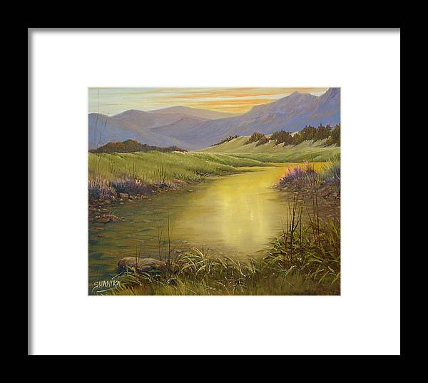 Landscape Framed Print featuring the painting The End Of The Day 070714-79 by Kenneth Shanika