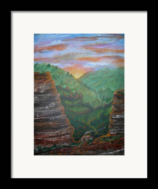 Landscape Framed Print featuring the painting The End Of The Journey by Jack Hampton