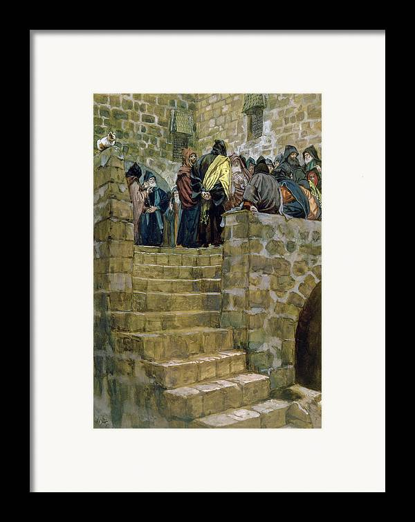 The Framed Print featuring the painting The Evil Counsel Of Caiaphas by Tissot