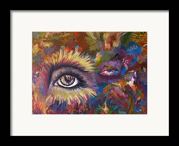 Abstract Framed Print featuring the painting The Eye by Laura Tveras