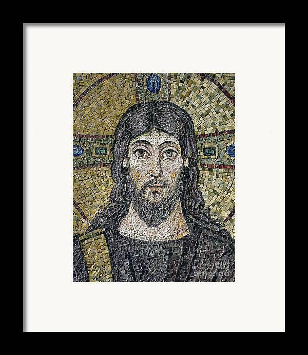 Christ Framed Print featuring the relief The Face Of Christ by Byzantine School