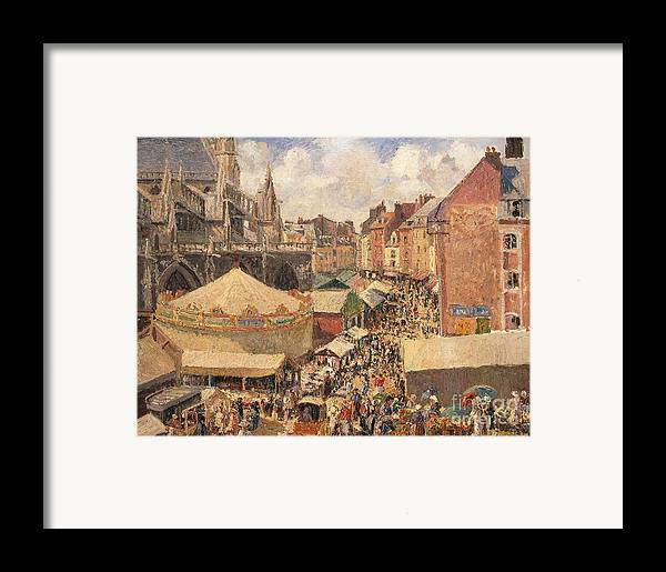 Camille Framed Print featuring the painting The Fair In Dieppe by Camille Pissarro