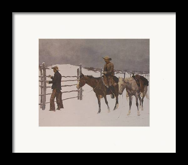 Frederic Remington Framed Print featuring the digital art The Fall Of The Cowboy by Frederic Remington