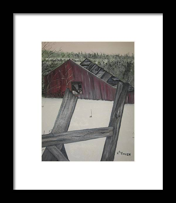 Framed Print featuring the painting The Falling Down Shed by L A Raven