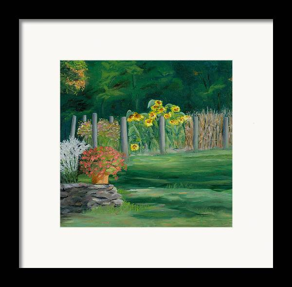 Landscape Framed Print featuring the painting The Farm Gardens by Paula Emery